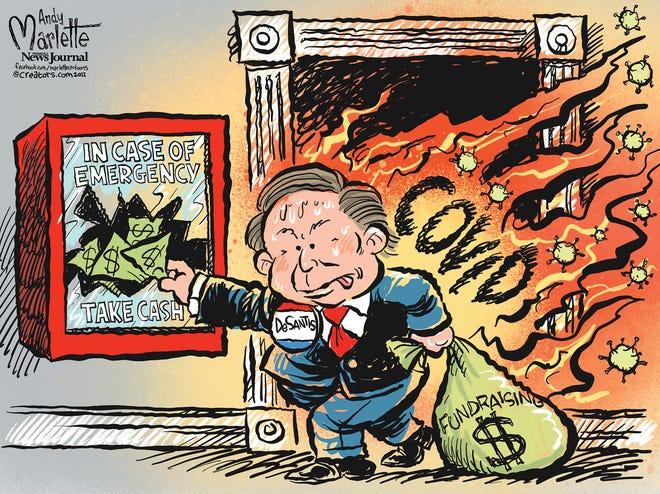 Marlette cartoon: Gov. Ron DeSantis focused on fundraising while COVID goes wild