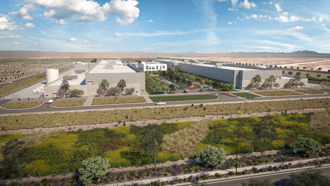 This photo rendering shows what the Facebook data center in Mesa is projected to look like.
