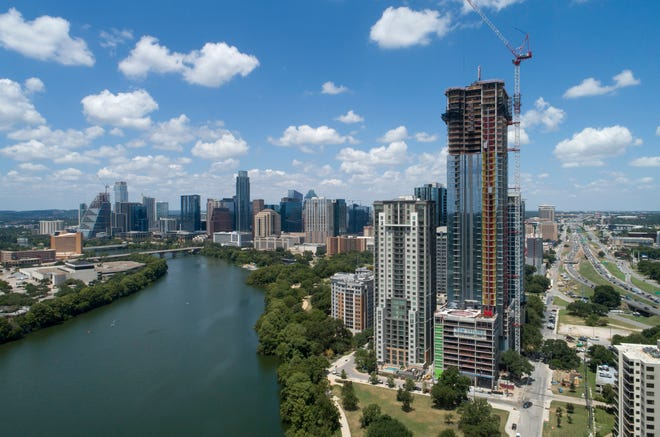 A condo tower is under construction in downtown Austin on Thursday, Aug. 12.