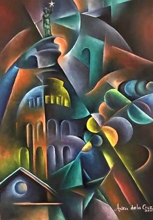 Anita de la Cruz, a Round Rock artist and member of the Center Art Club of the Baca Center, created this cubism abstract art with oil painting of the Texas Capitol.