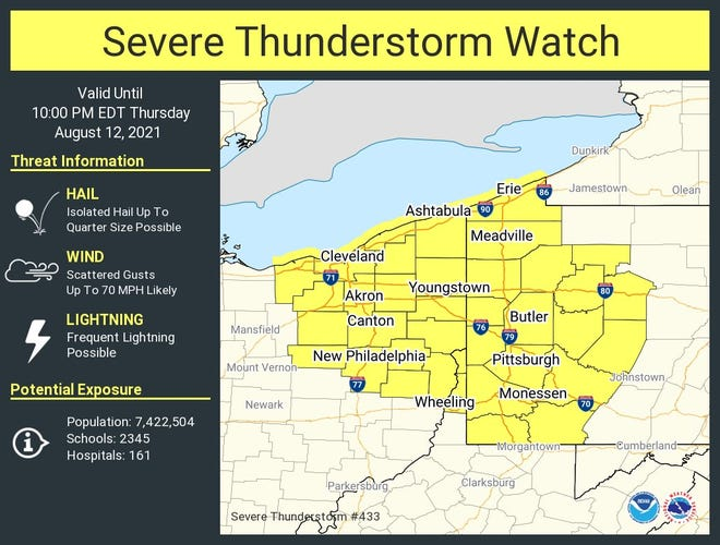 A severe thunderstorm watch is in effect for parts of northern and northeast Ohio until 10 p.m.