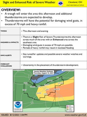 Severe thunderstorms are once again expected for much of the area this afternoon and evening, and most of northern Ohio remains under a heat advisory until 8 p.m.