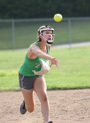 Boonville senior Rachel Massa throws to home during a drill Monday at Bill Simmons field at Rolling Hills park. Massa will be one of five starters returning for the Lady Pirates this fall under head coach Christie Zoeller.