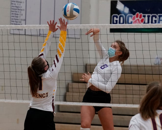 Onsted's Ruby Foster goes up for a kill during a match in the 2020 season.