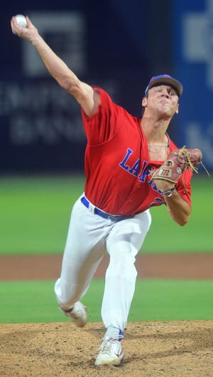 Hays Lark pitcher Cade Brown faces the Seattle Studs during play at the National Baseball Congress World Series.