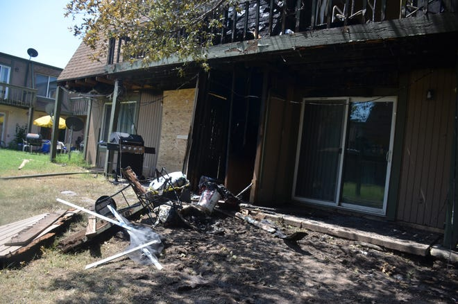 Fire gutted one fourplex at Fox Meadows Apartments, 720 W. 12th, Aug. 11.