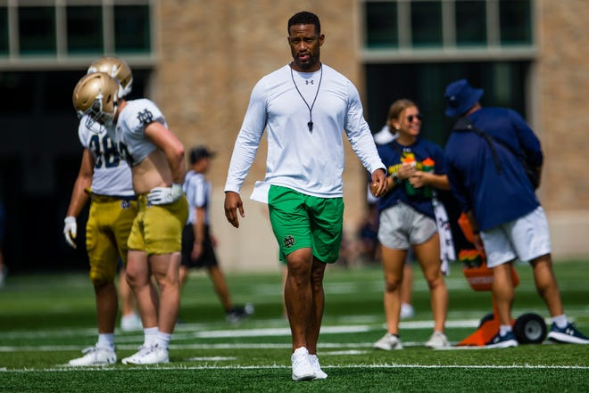 Irish defensive coordinator Marcus Freeman during Notre Dame football practice Thursday, Aug. 12, 2021, at the Irish Athletica Complex.