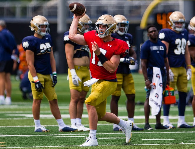 Notre Dame head coach Brian Kelly and offensive coordinator Tommy Rees saw a consistency in Jack Coan (pictured) that put him ahead of the other quarterbacks on the Irish roster.