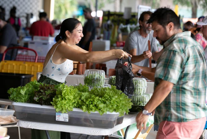 Betty Yangar sells hydroponically grown baby greens she grows at her Citra home. There are lots of fresh fruits and vegetables at the market in Ocala.