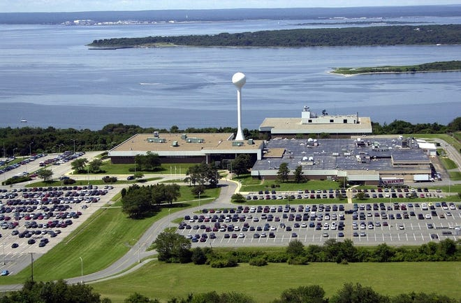 An aerial view from 2017 of Raytheon's Seapower Capability Center, overlooking the East Passage, in Portsmouth. Activists protested Raytheon Thursday morning.