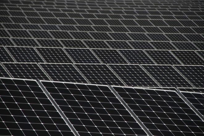 Solar panels that make up a solar farm off Kilvert Street in Warwick. [The Providence Journal, file / Steve Szydlowski]