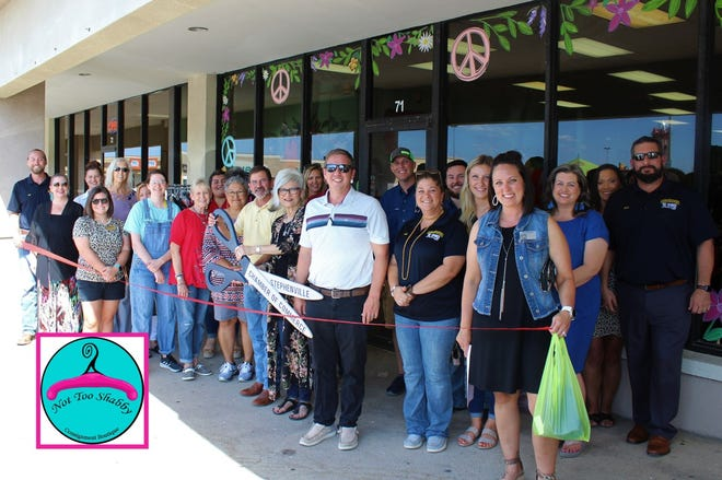 The Stephenville Chamber of Commerce celebrated the new location of Not Too Shabby with a ribbon cutting on Tuesday, Aug. 10. Not Too Shabby is an upscale consignment boutique that offers clothing, shoes, jewelry, handbags, and home decor. Owner Sherry Jacks says that they are excited to be in a new location with double the space. This expansion has allowed for Not Too Shabby to now carry men's clothing and more inventory in other areas. Stop by the Bosque River Center to check out Not Too Shabby. For more information, visit bit.ly/RC-NotTooShabby