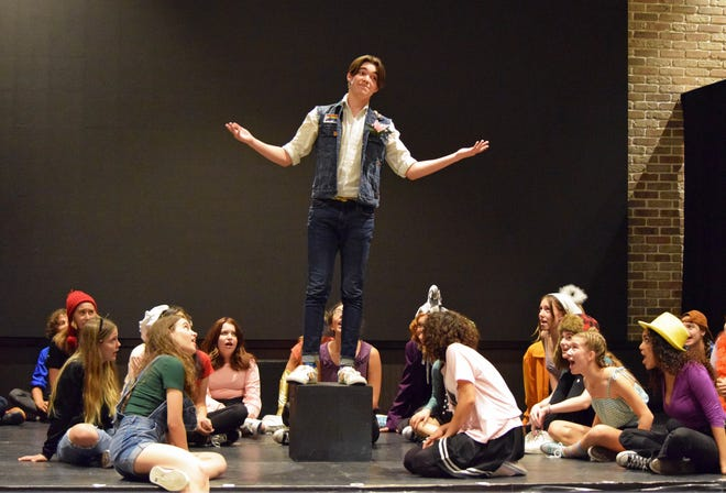 """Students in the Rise Above Academy production of the musical """"Godspell."""""""
