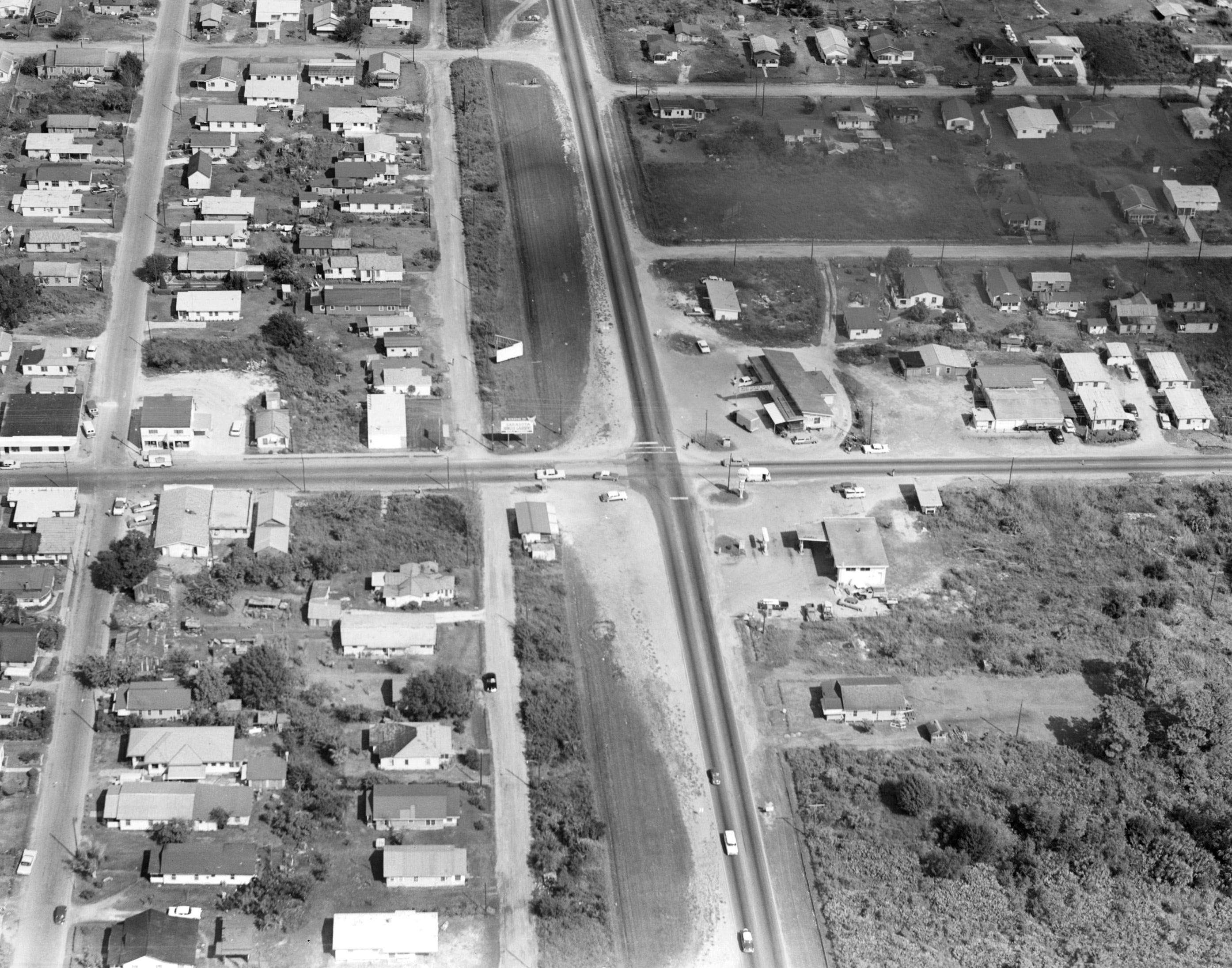 This undated aerial photo shows North Washington Boulevard (running bottom to top) looking north at the intersection of 27th Street in Sarasota. In the 1960s, North Washington Boulevard was widened into the six-lane U.S. Highway 301, effectively dividing the Newtown community.