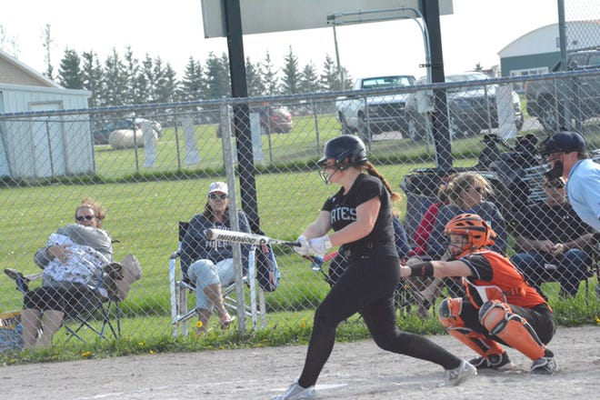Chloe May of Pickford takes an at-bat during  a game against Rudyard this past season in this file photo. May joined the MHSAA records list for her hitting in a game against St. Ignace.