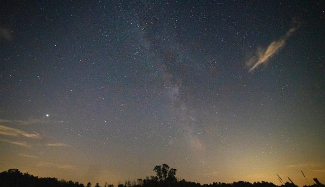 The Milky Way galaxy is visible from Mandell Hill, an East Quabbin Land Trust Property, Wednesday evening. Occasionally a meteor was seen zipping across the sky.