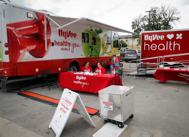 The Hy-Vee mobile health truck offers fairgoers COVID-19 vaccines on Thursday, Aug. 12, 2021, during the opening day of the Iowa State Fair in Des Moines.