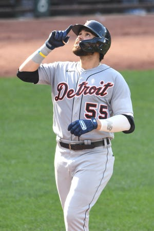 Renato Nuñez, who has played the 2021 season with the Detroit Tigers' organization, celebrates hitting a two-run home run in the fourth inning against the Baltimore Orioles - his former team - on Aug. 12. The Brewers signed Nuñez on Monday after he became a free agent.