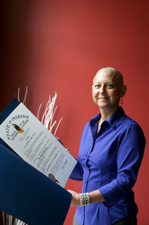 Dr. Sarah Hallberg, a 2021 Sagamore of the Wabash award winner, stands for a photo, Wednesday, Aug. 11, 2021 in West Lafayette. The Sagamore of the Wabash award is Indiana's highest honor.