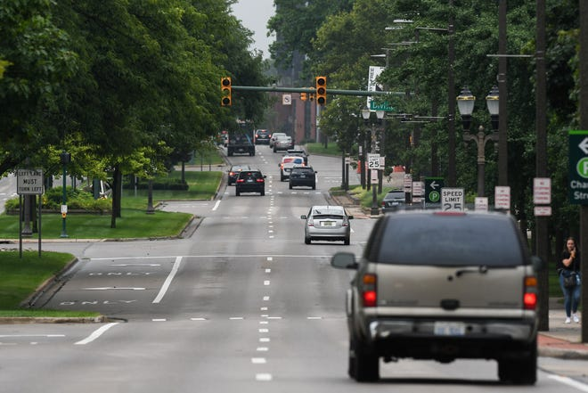 Traffic signals down most of East Grand River Avenue in downtown East Lansing are out Thursday morning, Aug. 12, 2021 due to electric outtages.  Use care at intersections.  When lights are out, treat those intersections as four-way stop signs.