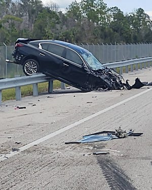 Three people were seriously injured in a crash Thursday on Alligator Alley near mile marker 97 in Collier County, the Florida Highway Patrol said.