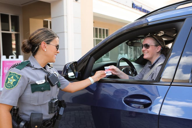 The Collier County Sheriff's Office's North Naples community-oriented policing unit was out Thursday at the Galleria Shoppes at Vanderbilt reminding citizens shopping center plazas are where car burglaries are most likely to happen.
