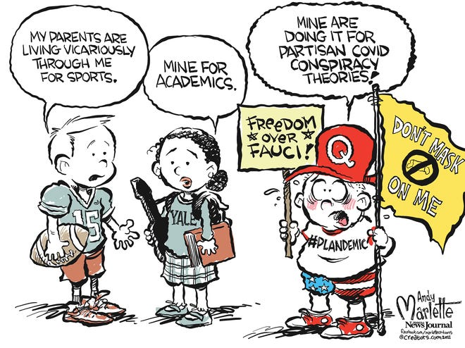 Marlette cartoon: Parents pushing conspiracy theories on the kiddos