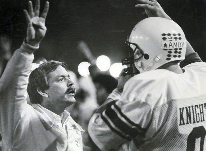 Brophy/St.Mary's  St. MaryÕs head coach Pat Farrell and quarterback John Bonds in 1987.