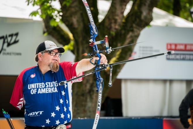 Eric Bennett at the 2019 World Archery Para Championships in Hertogenbosch, Netherlands on June 9, 2019.
