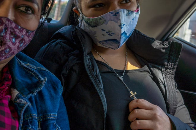 Antonia Castillo and her daughter Samantha traveled by bus from Nogales, Sonora to Tijuana, across the border from San Diego on March 29, 2021., to be processed for asylum under the Migrant Protection Protocols.