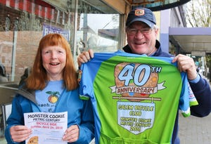Mary Ann and Hersch Sangster of the Salem Bicycle Club and organizers of the Monster Cookie bicycle ride.
