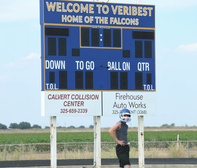The Veribest Falcons' scoreboard is pictured during practice on Wednesday, Aug. 11, 2021. The Falcons will begin a new era this season under first-year head coach Justin Morris, a former assistant.