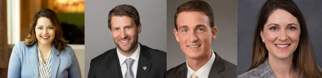 (Left to right) Taylor Rehfeldt, Reggie Kuipers, James Payer II and Stephanie Larscheid were recognized as YPN's 4 under 40 winners.