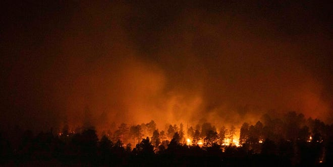 Firefighters are battling a wildfire 5 miles outside of the city of Sturgis, South Dakota as the Sturgis Motorcycle Rally nears the end of the event,