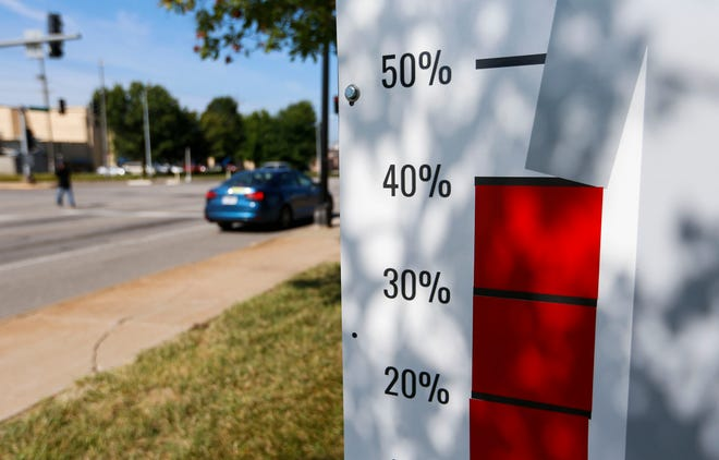 A sign along Chestnut Expressway showing the percentage of Greene County residents vaccinated against COVID-19 on Aug. 12, 2021. Missouri's vaccine lottery held its first $10,000 drawings on Aug. 13, part of the state's efforts to incentivize getting shots into arms.