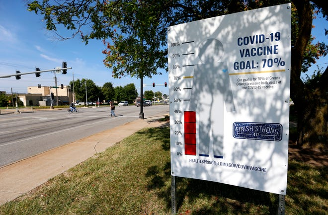 A sign along Chestnut Expressway showing the percentage of Greene County Residents vaccinated against COVID-19 on Thursday, Aug. 12, 2021.