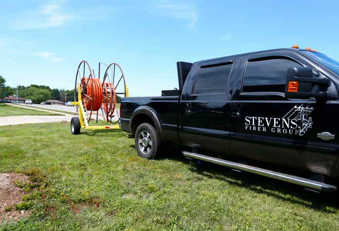 Fiber being installed along East Primrose Street near Kickapoo High School on Wednesday, Aug. 12, 2021.