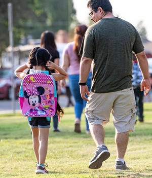 Students return to Mountain View School on Thursday, August 12, 2021.