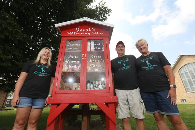 Lindsay Stanbery and her parents Steve and Robin Ludinich started Sarah's Blessing Box in Frazeysburg in honor of their daughter and her sister , the late Sarah Ludinich. The box provides food to those in need.