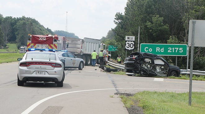 A Chevy Trailblazer and a dump truck were involved in a crash Thursday afternoon on U.S. 30 and County Road 2175 near Jeromesville in Ashland County.