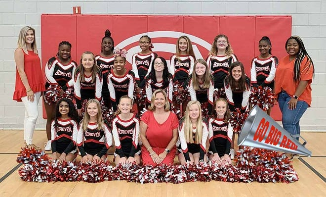 """The Screven County Middle School competitive cheerleaders are getting ready for them fist meet in September and this year the team will host the region cheer competition in November. """"We have been working hard on our competition routine, but, of course, with summer vacations and now COVID absences we aren't quite where we usually are in preparation,"""" said SCMS Head Coach Dana Doss. The SCMS cheerleading competition season begins Sept. 25 at West Laurens High School. The squad then on Oct. 16 will be at Georgia Southern University; Oct. 23 at Statesboro High School; Nov. 6 at Swainsboro High; and then for the first time ever the region competition will be at Screven County Middle School on Thursday, Nov 11. Doss said additional details about the region competition in Sylvania will be provided as the date approaches. Pictured from the SCMS cheerleading team (from left kneeling) are Diya Patel, Ally Eubanks, Kaylee Harrison, Head Coach Dana Doss, Peyton Ziegler, and Mica Shipes. Middle row: Lily Bohannon, Co-Captain Kaelyn Gibbons, Stacy Shelton, Addison Tapley, and Caroline Kullberg. Back row: Assistant Coach Kaylin Pollock, Co-Captain Lauryn Herrington, Malayshia Brinson, Cartier Wolfe, Captain Payton Lee, Coraline Woodall, Ashanti Barnes, and Assistant Coach Destiny Corley."""