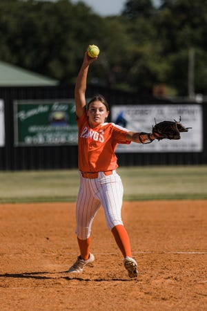 Pawhuska Lady Huskies pitcher Zowie Miles throws to the plate during the first home game of the season against Pawnee on Thursday.  The 2020 team went undefeated in its district and hosted a regional tournament.