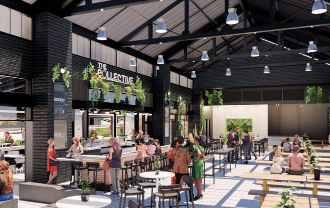 A rendering of The Collective food hall planned for Grandview Crossing.