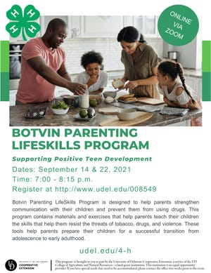 The University of Delaware New Castle County Cooperative Extension and 4-H will host the Botvin Parenting LifeSkills Program from 7 to 8:15 p.m. Sept. 14 and 22 virtually.