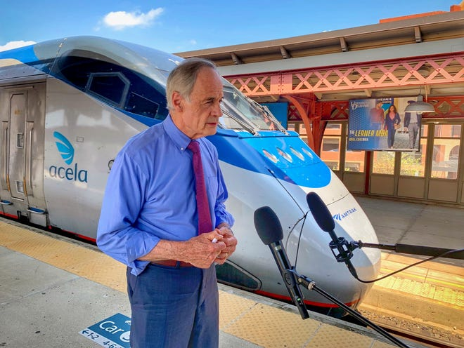 Sen. Tom Carper, D-Delaware, chair of the Environment and Public Works Committee in the Senate, held a press conference Aug. 11 outside of the Wilmington Train Station to highlight the wins for Delaware following passage of the Infrastructure Investment and Jobs Act.