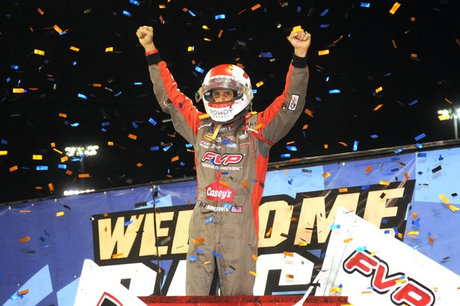 Brian Brown celebrates his victory Thursday night at the Knoxville Nationals.
