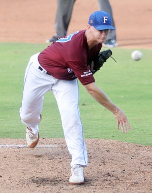 Santa Barbara Forester pitcher Justin Eckhardt tossed a complete-game win over Lonestar Baseball, striking out five. Eckhardt is a sophomore at the University of Texas.