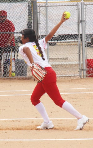 Rocky Ford High School freshman pitcher Leticia Garcia sends the first pitch of her high school career to the plate against Wray Friday, Aug. 13 at Babcock Park. Garcia was the winning pitcher in the Meloneers' 4-3 win.