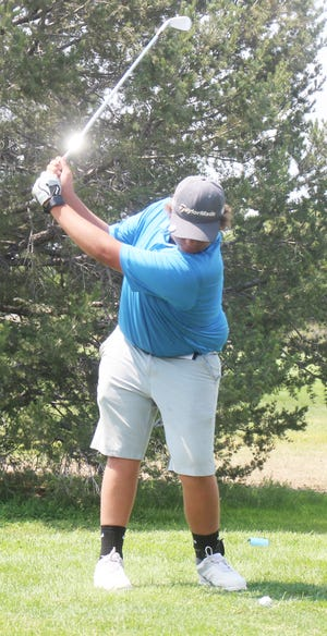 Las Animas High School's Damien Baca drives from the eighth tee at the Fowler Invitational which took place Thursday, Aug. 12 at the Cottonwood Links. Baca, who is only a freshman, had the second best score among individuals.