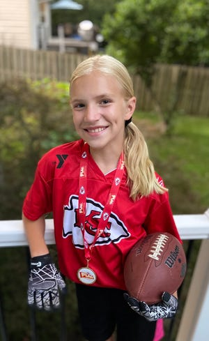 Olivia Tilley was the only girl to attend the recent Junior Bobcat Football Camp.